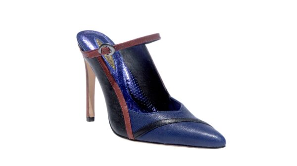 Blue Red and Black nappa leather, 4 inch heel mule style shoes