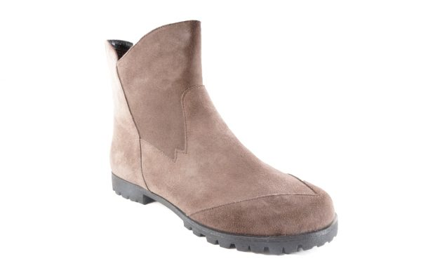 Brown Suede boot, ankle length, inside zipper, flat lug sole