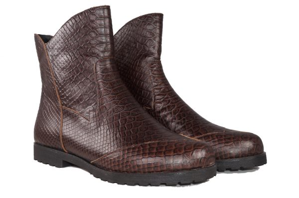 Brown croc embossed boot, ankle length, inside zipper, flat lug sole